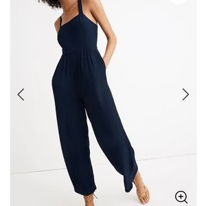 NWT - Madewell Smocked Cropped Jumpsuit w/ Pockets